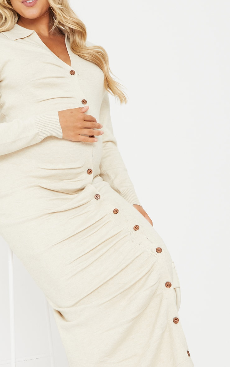 Maternity Cream Knitted Ruched Bump Midi Dress 5