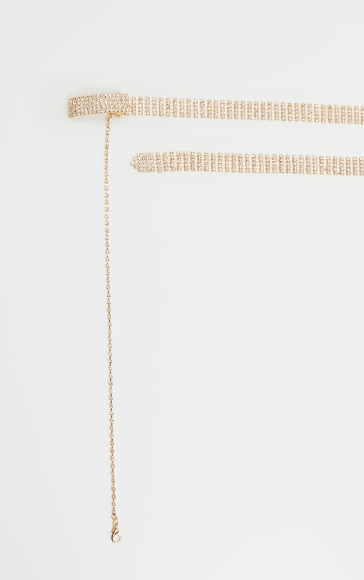 Gold Diamante Skinny Chain Belt 2