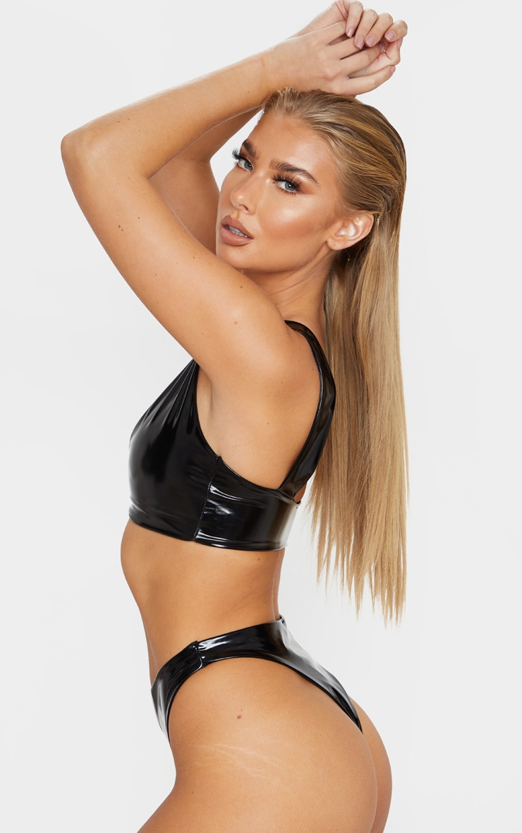 Black Vinyl Super High Leg Bikini Bottom 2