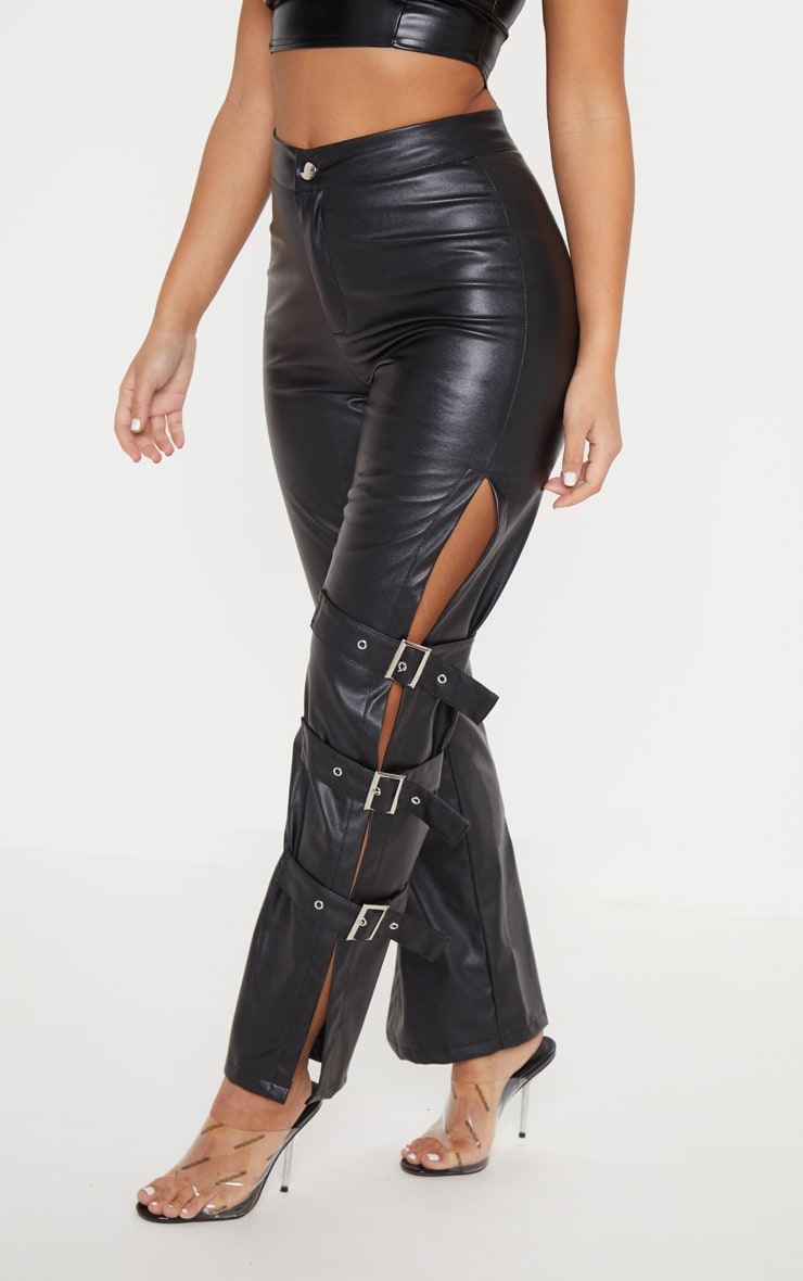 Black Faux Leather Buckle Strap Detail Trouser image 2