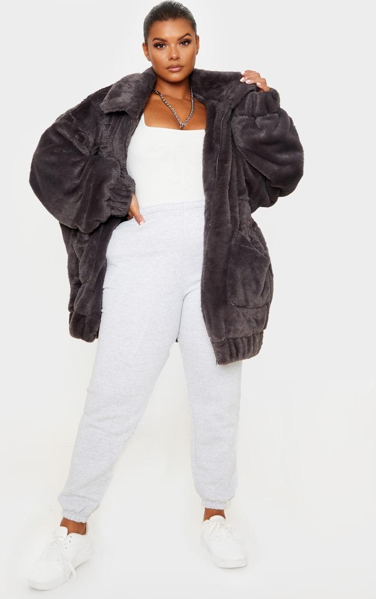Plus Grey Faux Fur Pocket Front Coat 4