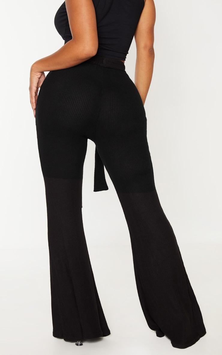 Shape Black Brushed Rib Tie Waist Wide Leg Pants 4