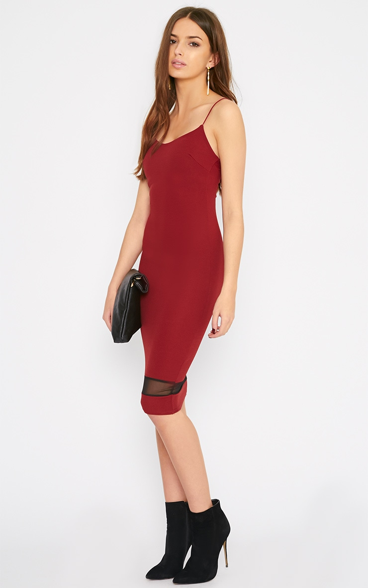 Leah Burgundy Mesh Insert Midi Dress 4