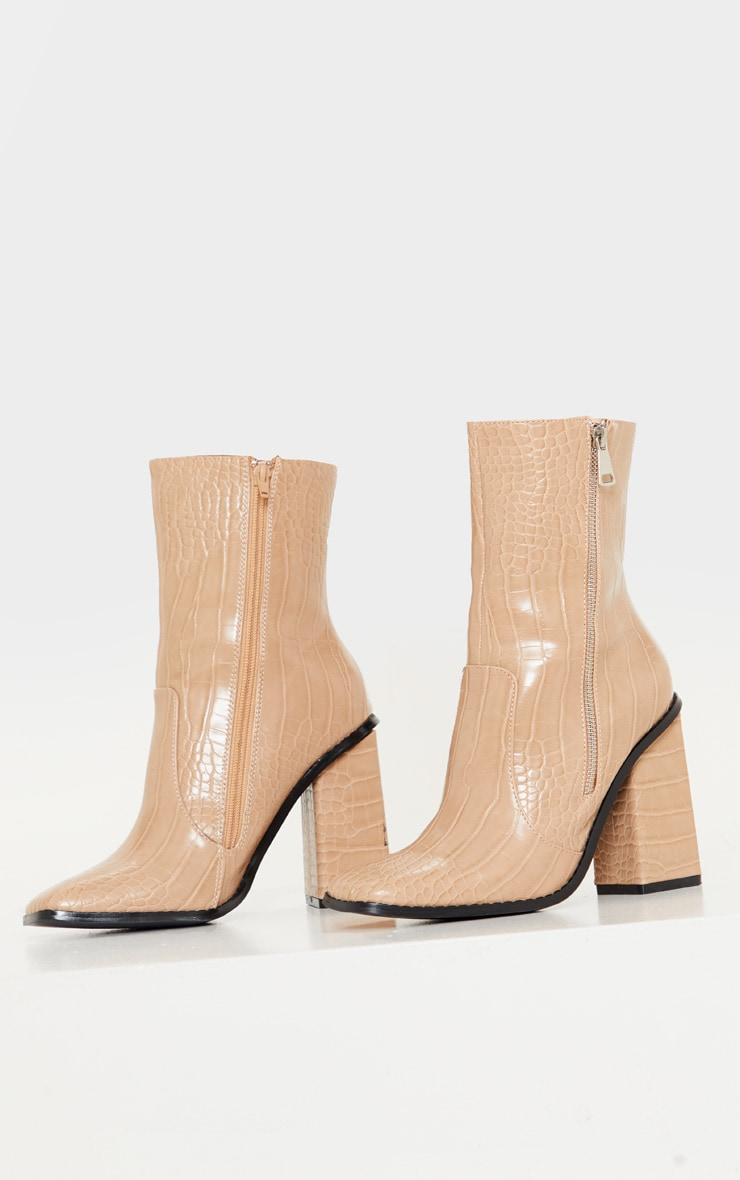 Nude Square Toe Chunky Block Heel Ankle Boot 4