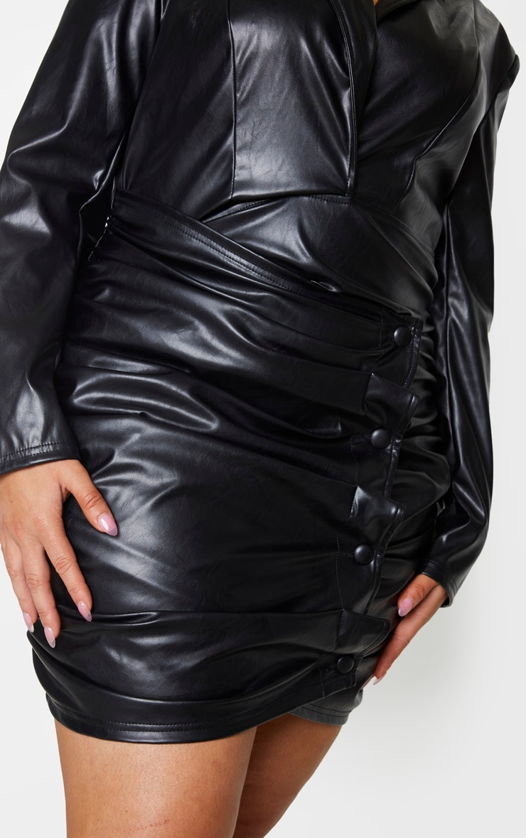 Plus Black PU Ruched Skirt Blazer Dress 4