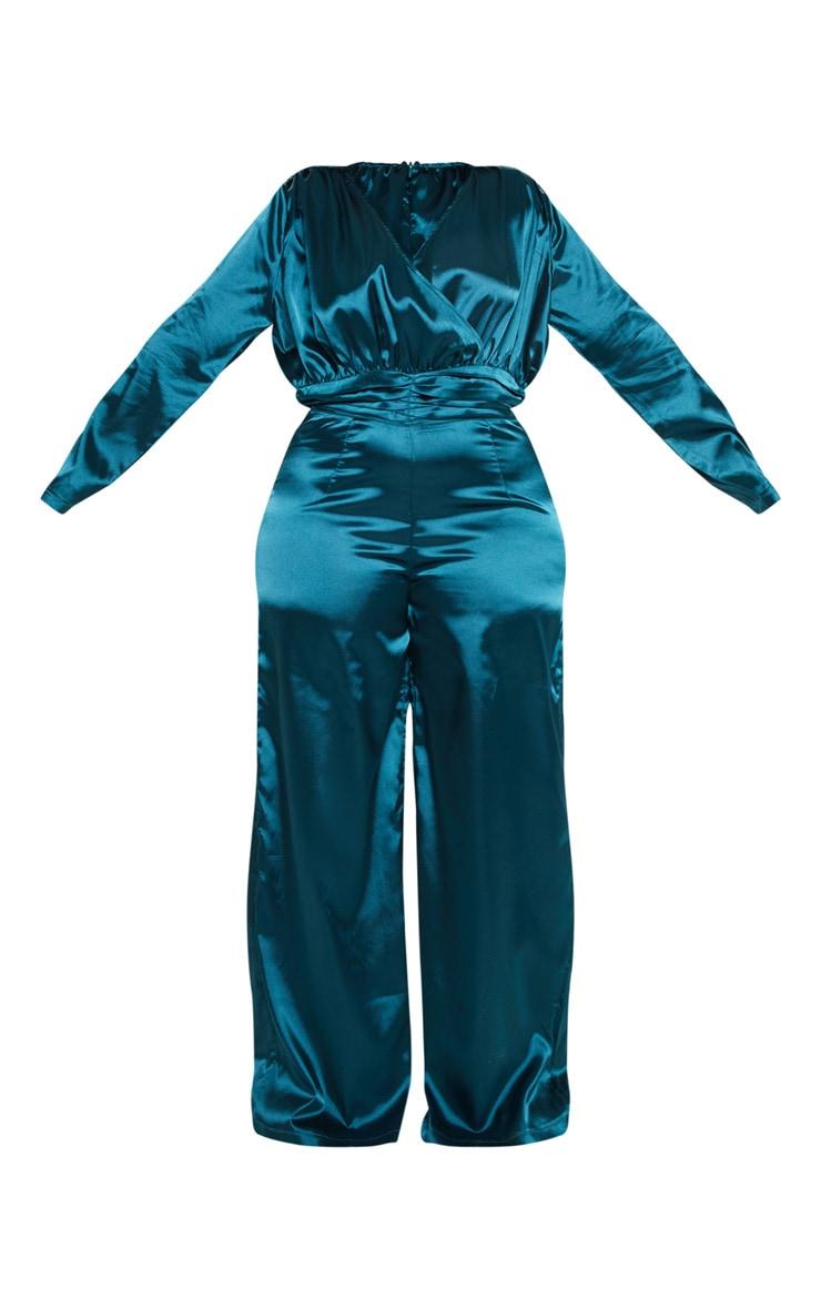 Plus Emerald Green Satin Ruched Waist Jumpsuit  3