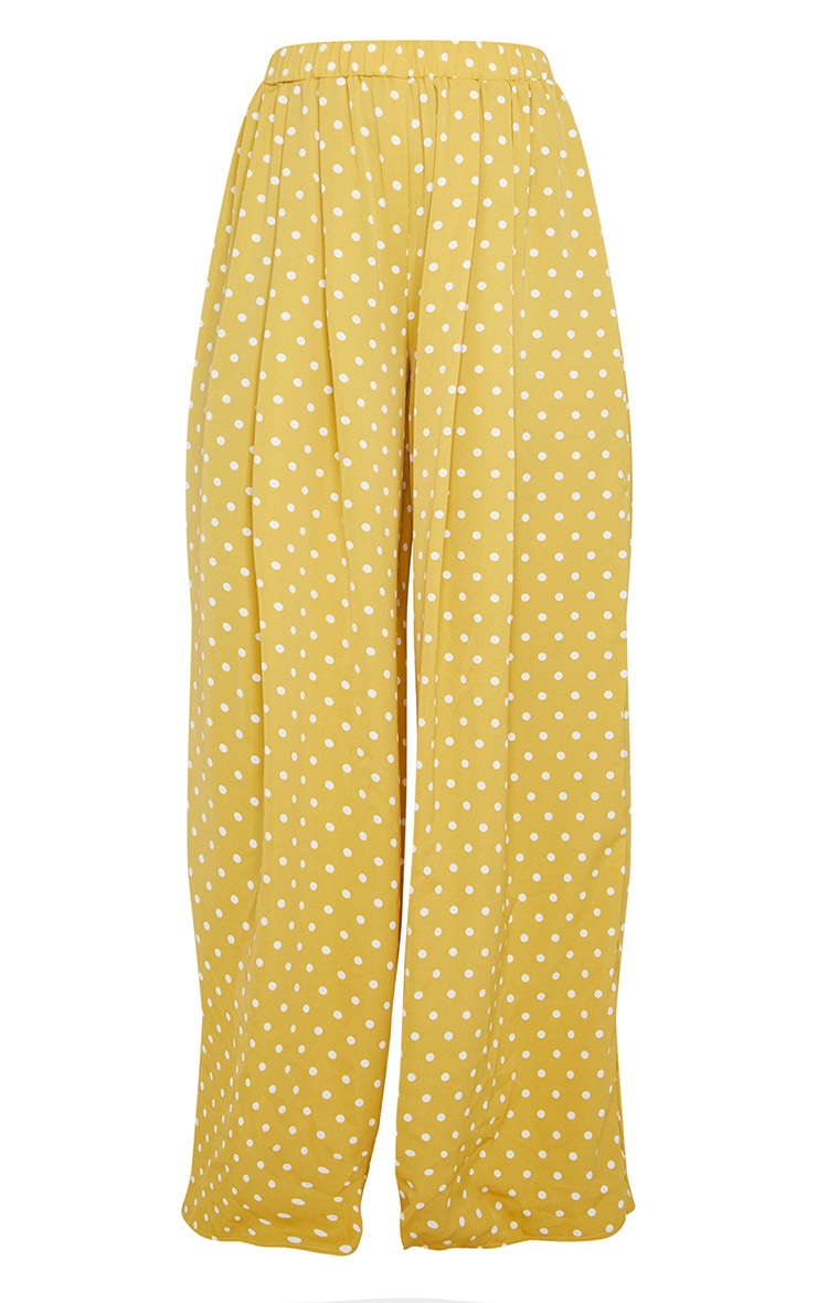 Mustard Polka Dot Print Wide Leg Trousers 5