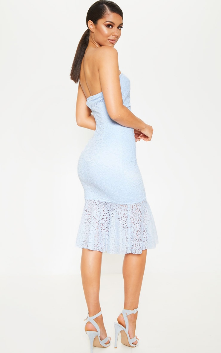Baby Blue Ruched Lace Asymmetric Hem Bandeau Midi Dress 2