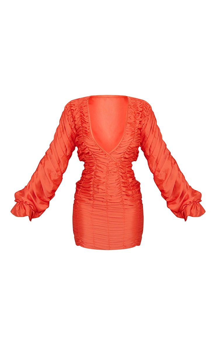 Coral Gathered Detail Plunge Ruched Sleeve Bodycon Dress 5