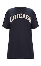 Black Chicago Slogan Oversized T Shirt 6