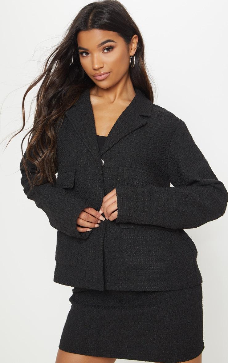 Black Boucle Boxy Jacket  4
