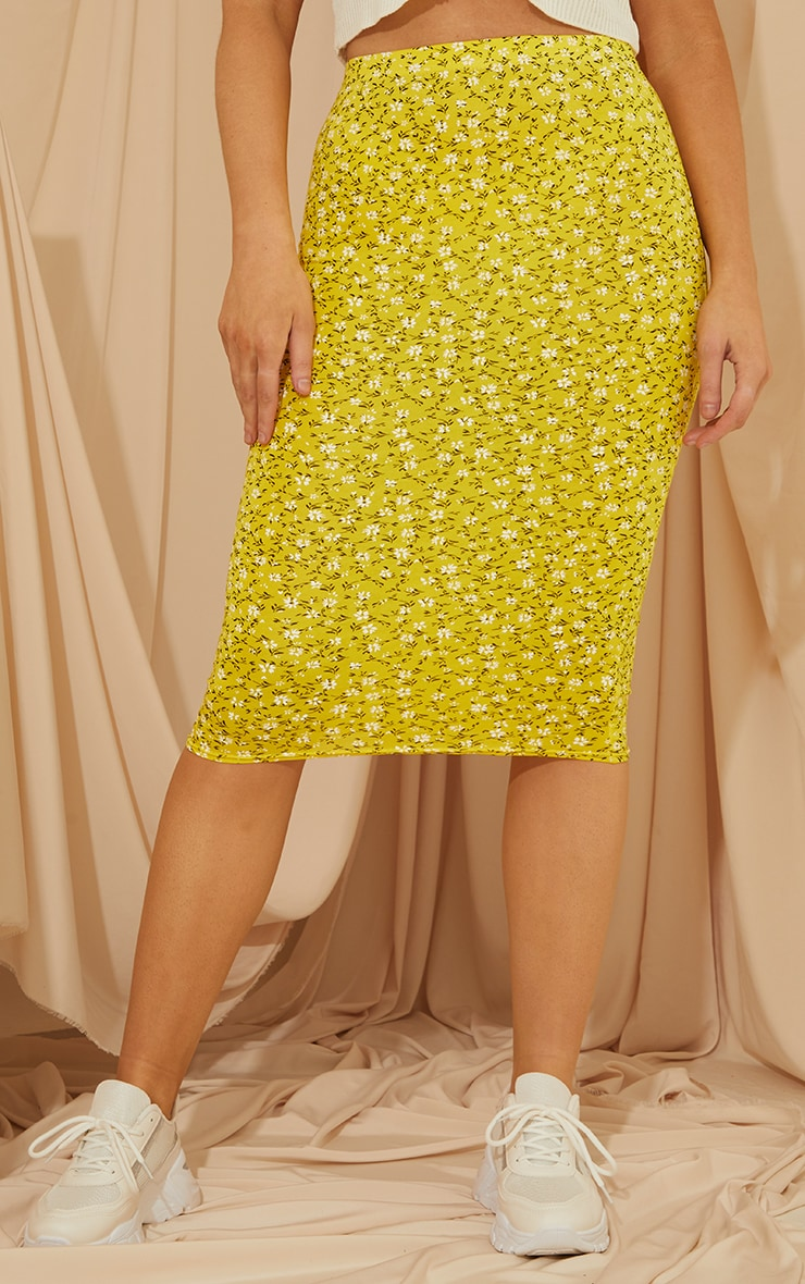 Yellow Ditsy Floral Basic Midi Skirt 2
