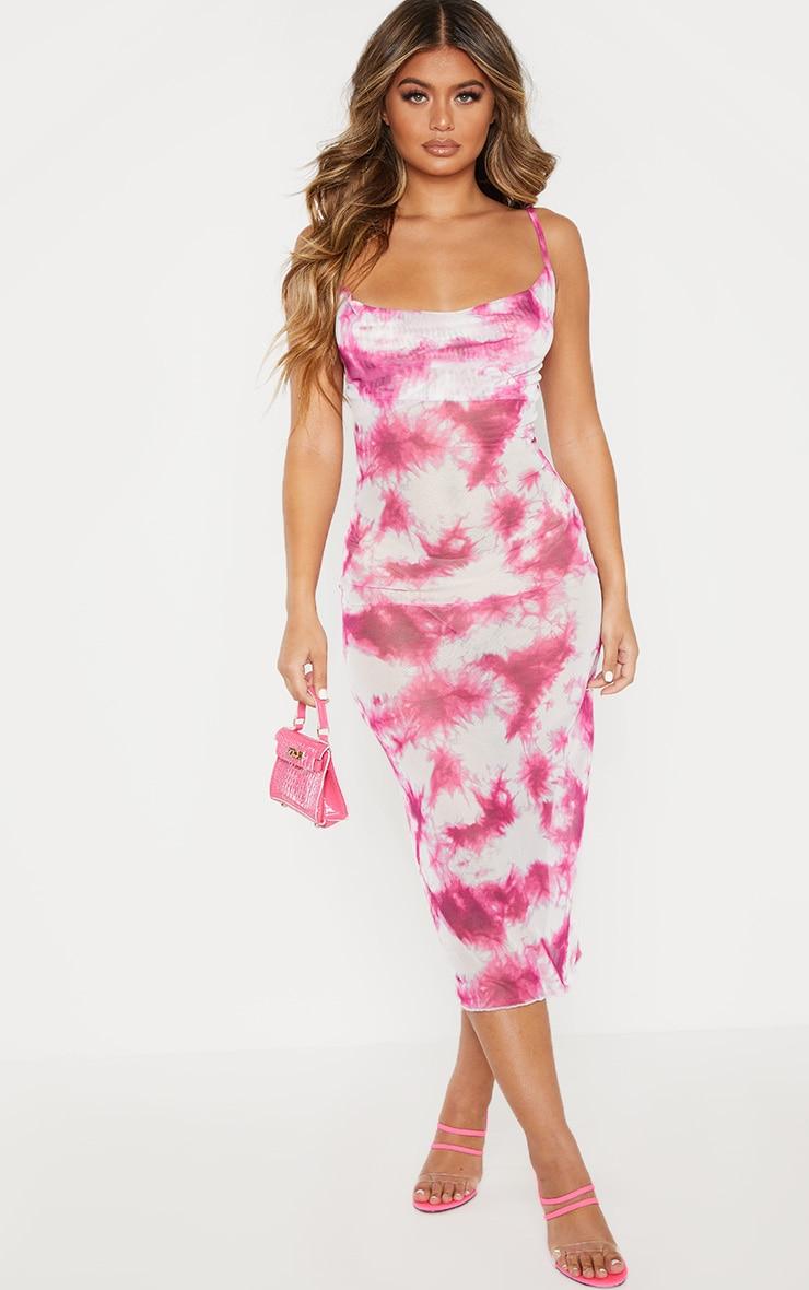 Pink Tie Dye Mesh Cowl Neck Midi Dress 1