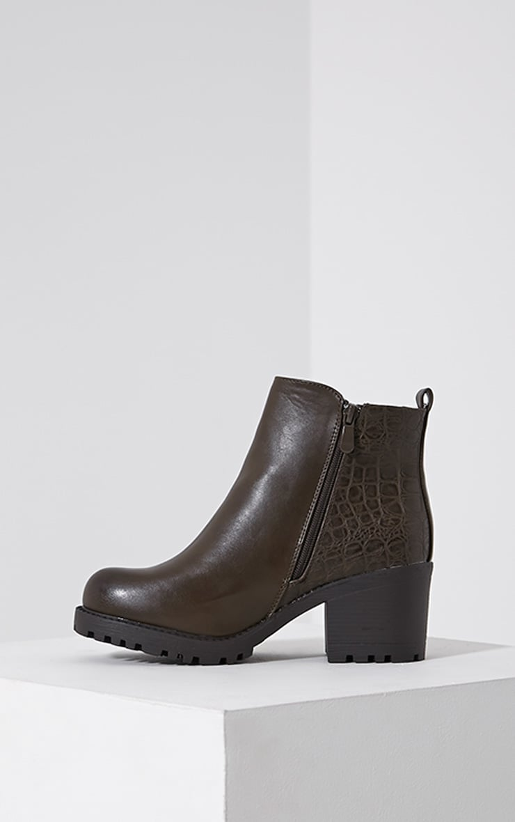 Maddie Taupe Croc Heeled Ankle Boots 4