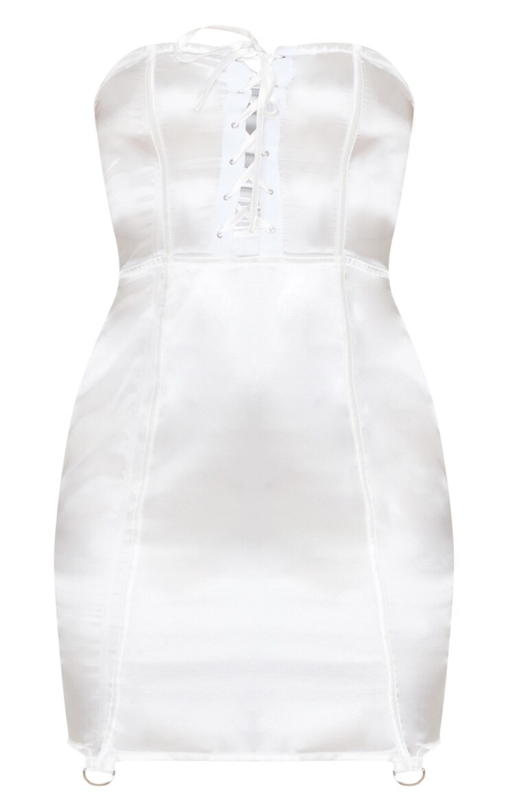 White Satin Lace Up Detail Bandeau Bodycon Dress 3