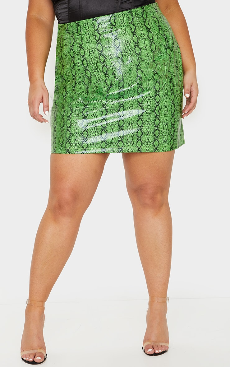 Plus Lime Faux Leather Snake Print Bodycon Skirt 2