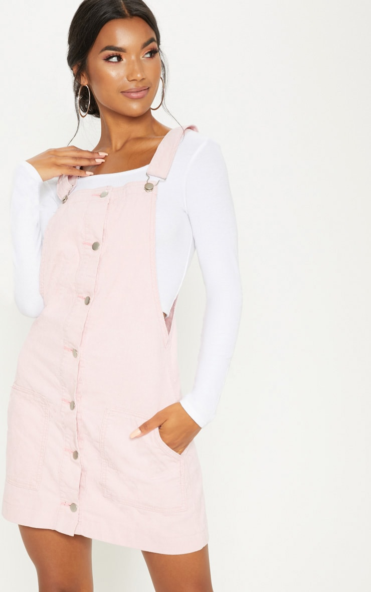Dusty Pink Cord Pinafore Dress 1