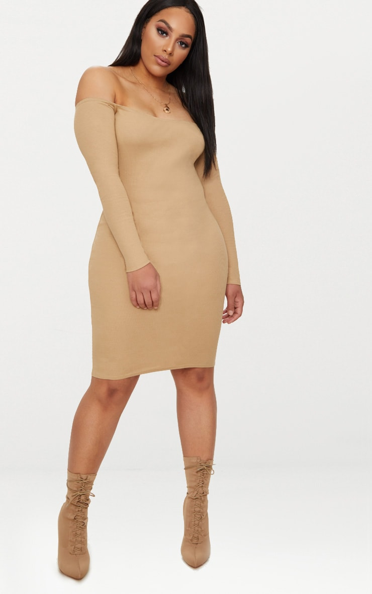 Plus Camel Second Skin Bardot Ribbed Long Sleeve Midi Dress 4