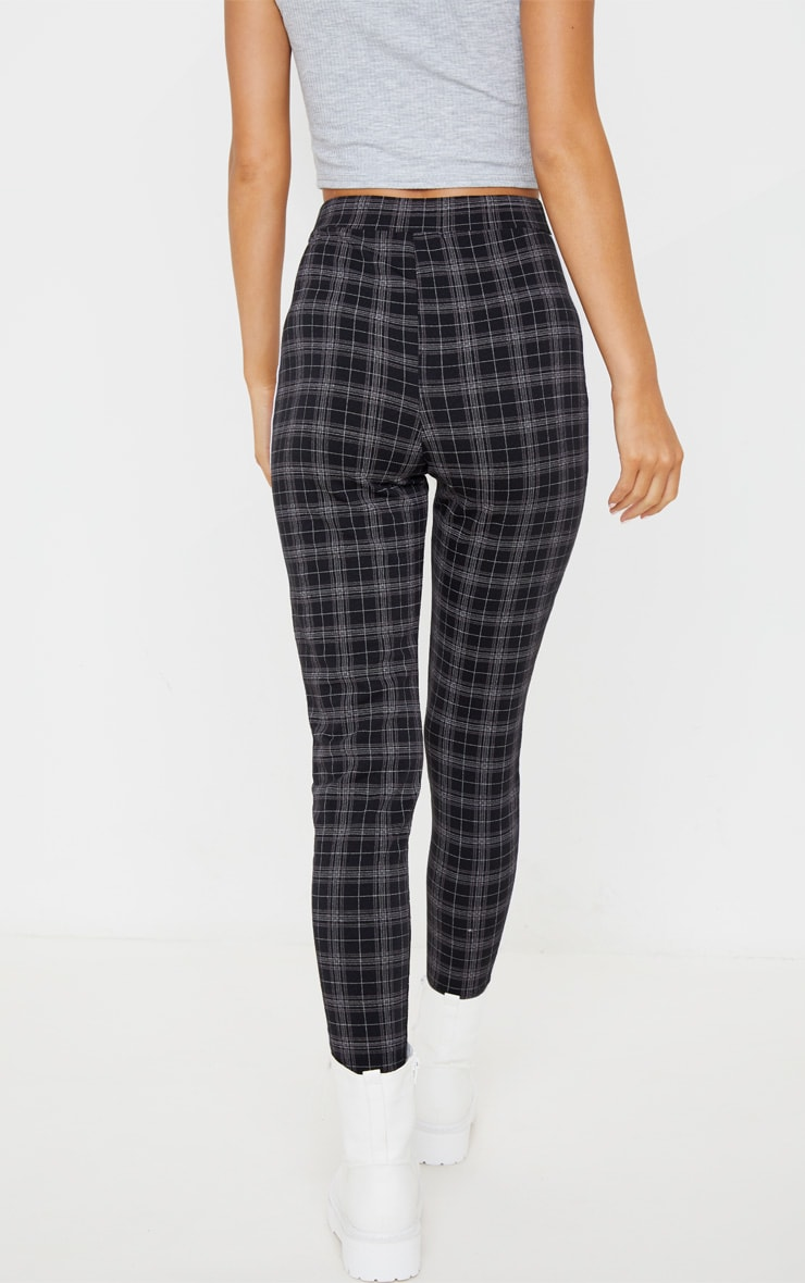 Black Check Contrast Binding Tie Waist Detail Legging 3