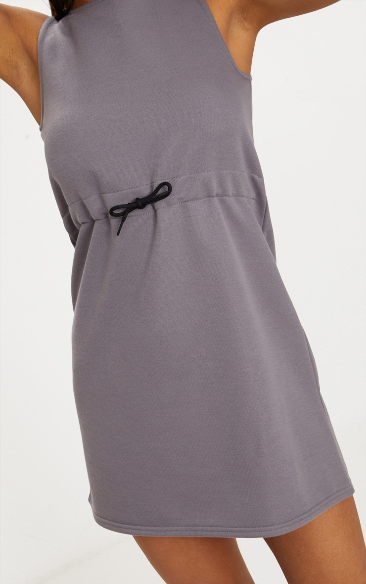 Charcoal Grey Drawstring Sleeveless Jumper Dress 5