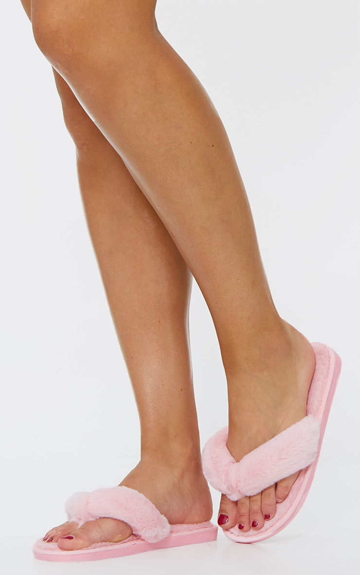 Pale Pink Fluffy Flip Flop Slippers 1