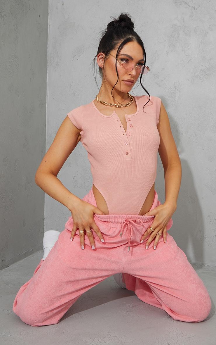 Dusty Pink Rib Cap Sleeve Button Up High Leg Bodysuit 3