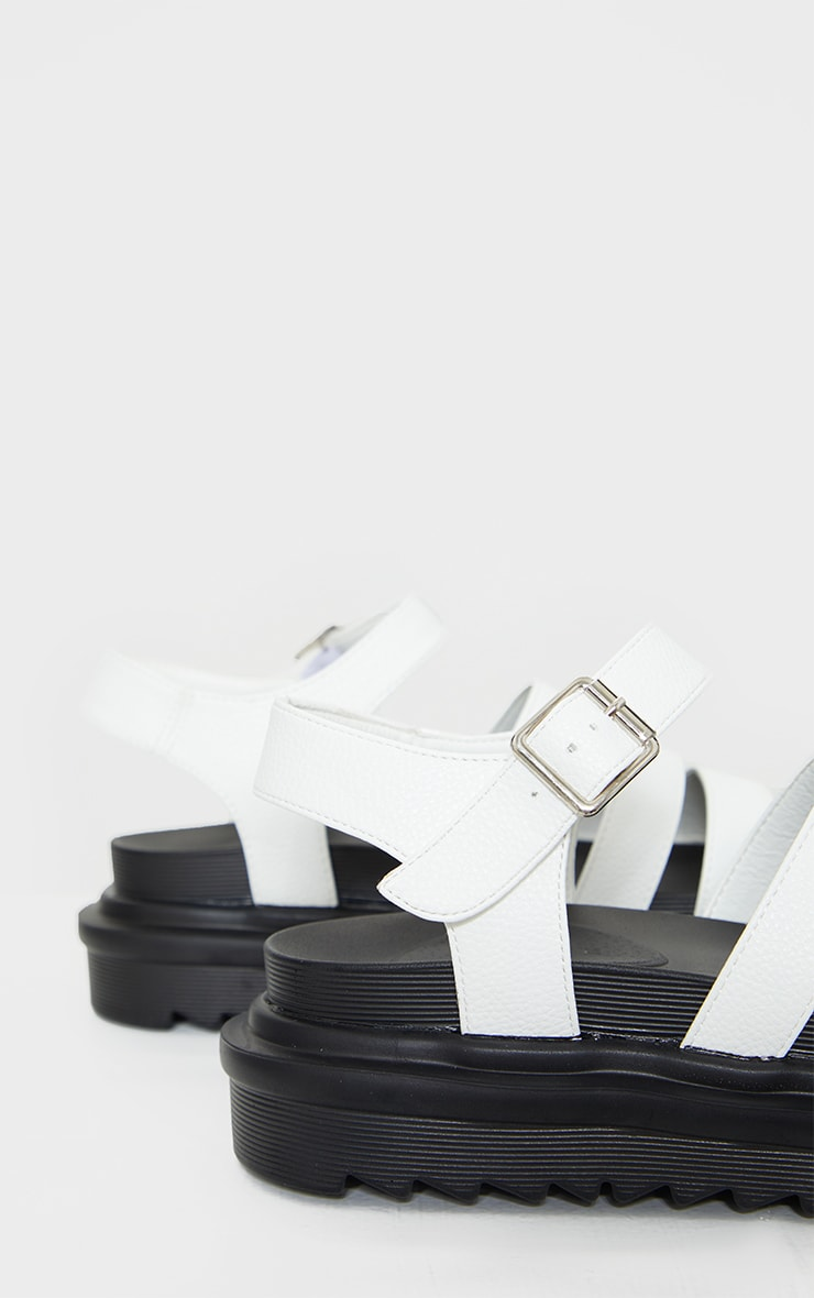 White Contrast Chunky Gladiator Sandals 4