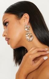 Gold Hammered Irregular Circle Drop Earrings 1