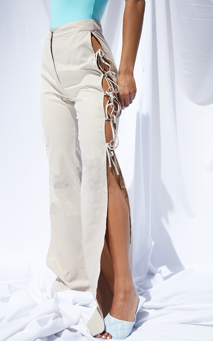 Stone Lace Up Detail Flared Pants 2