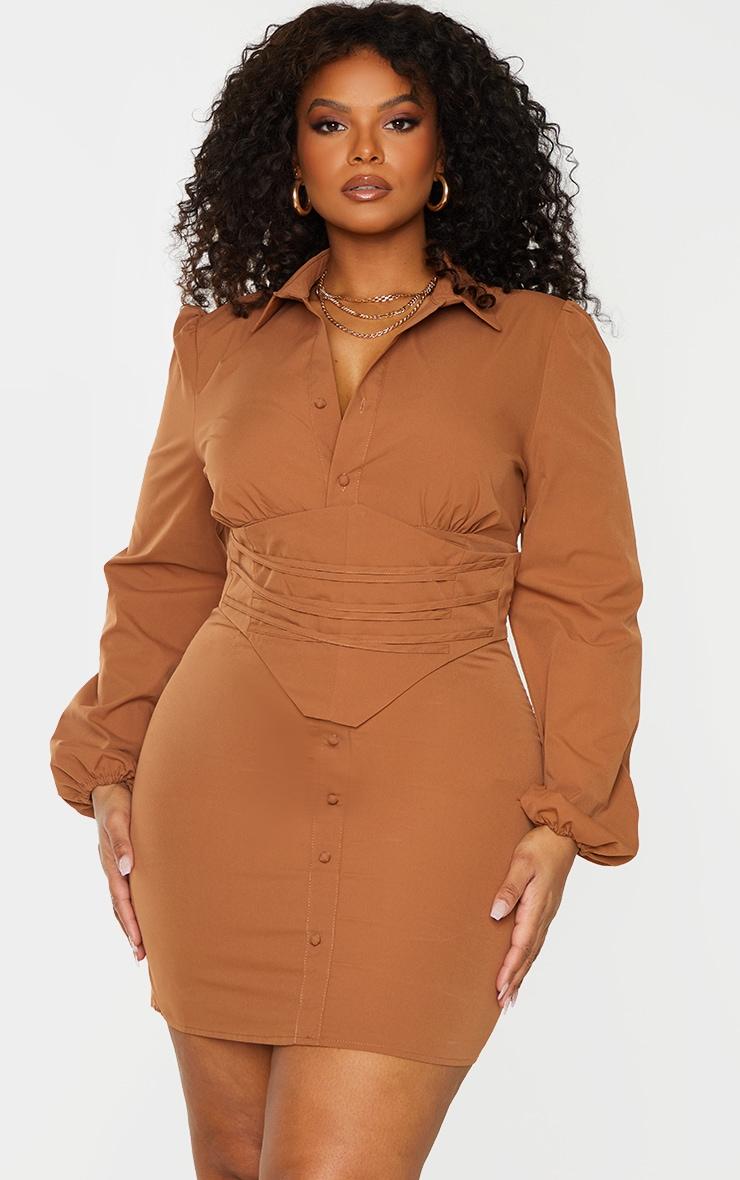 Plus Chocolate Brown Corset Detail Puff Sleeve Dress 1