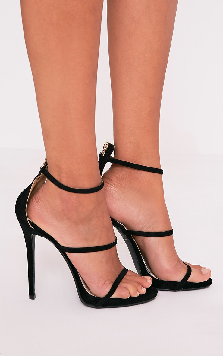 Asara Black Faux Suede Heeled Sandals 2