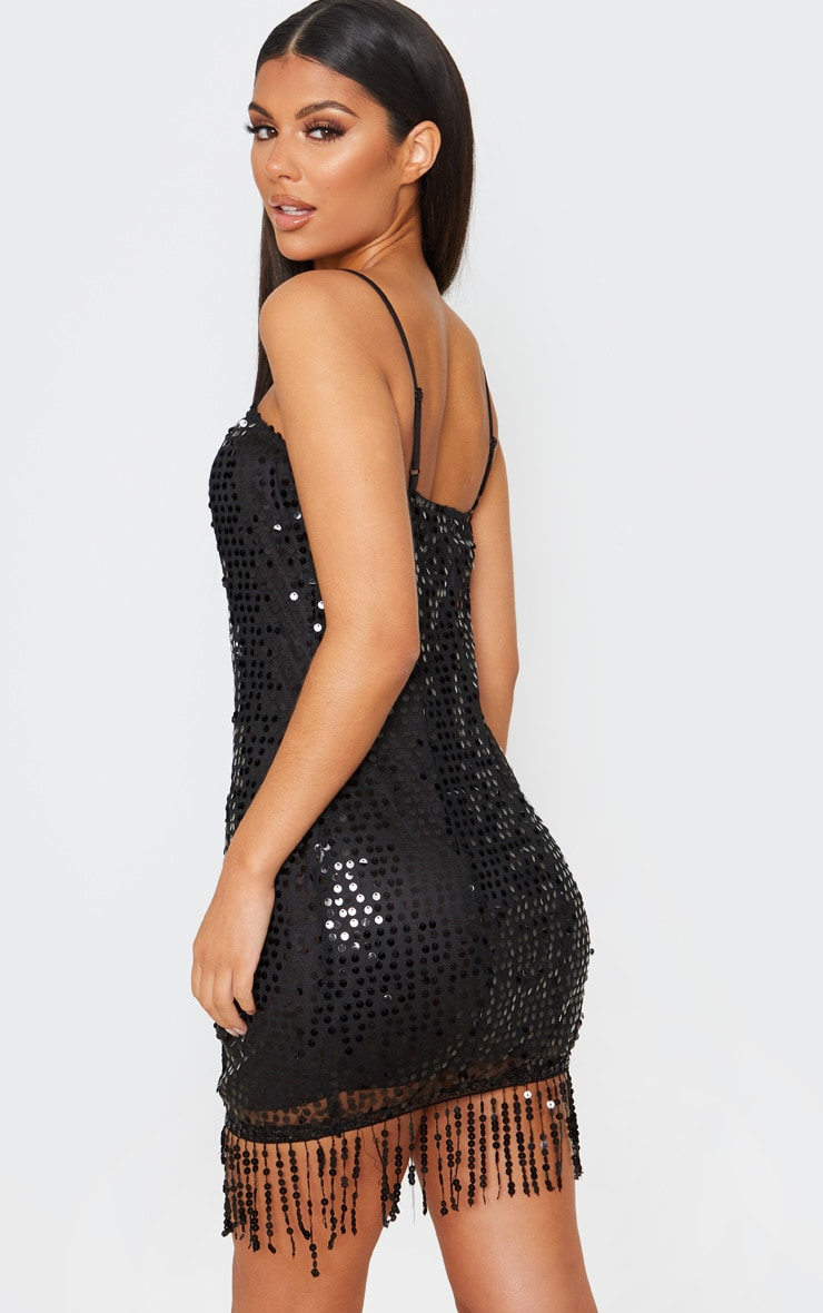 Black Strappy Sequin Tassel Hem Bodycon Dress 2