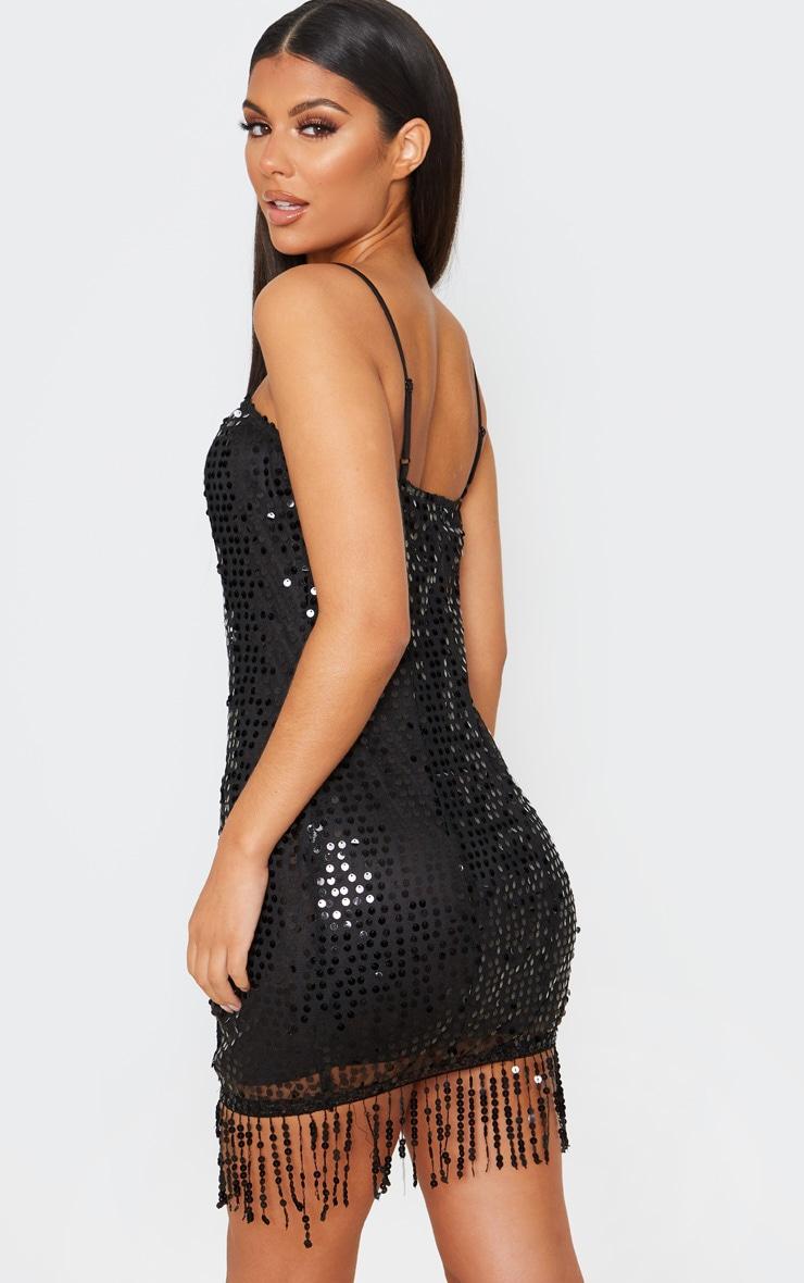 Black Strappy Sequin Tassel Hem Bodycon Dress 2