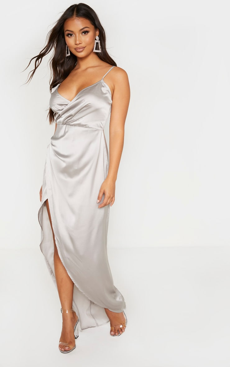 Petite Grey Satin Wrap Detail Maxi Dress 1