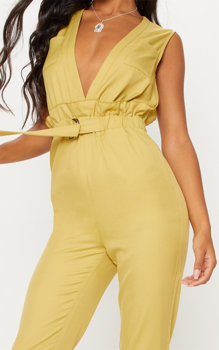 Chartreuse Plunge Belted Detail D Ring Jumpsuit 5