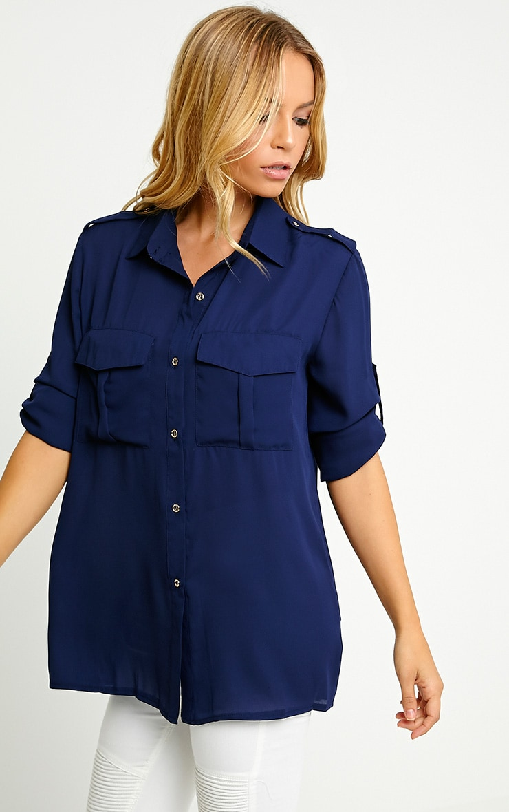 Bethan Navy Utility Pocket Shirt 1