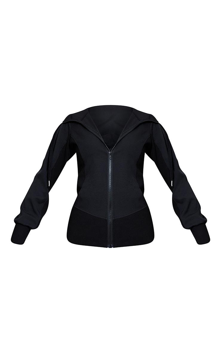 Black Premium Hooded Zip Up Sports Jacket 5