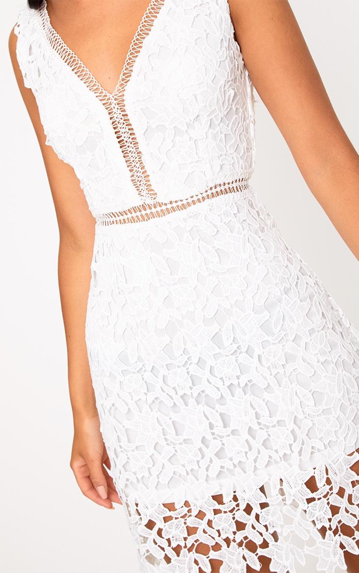 Tori White Lace Scallop Hem Crochet Skater Dress 4