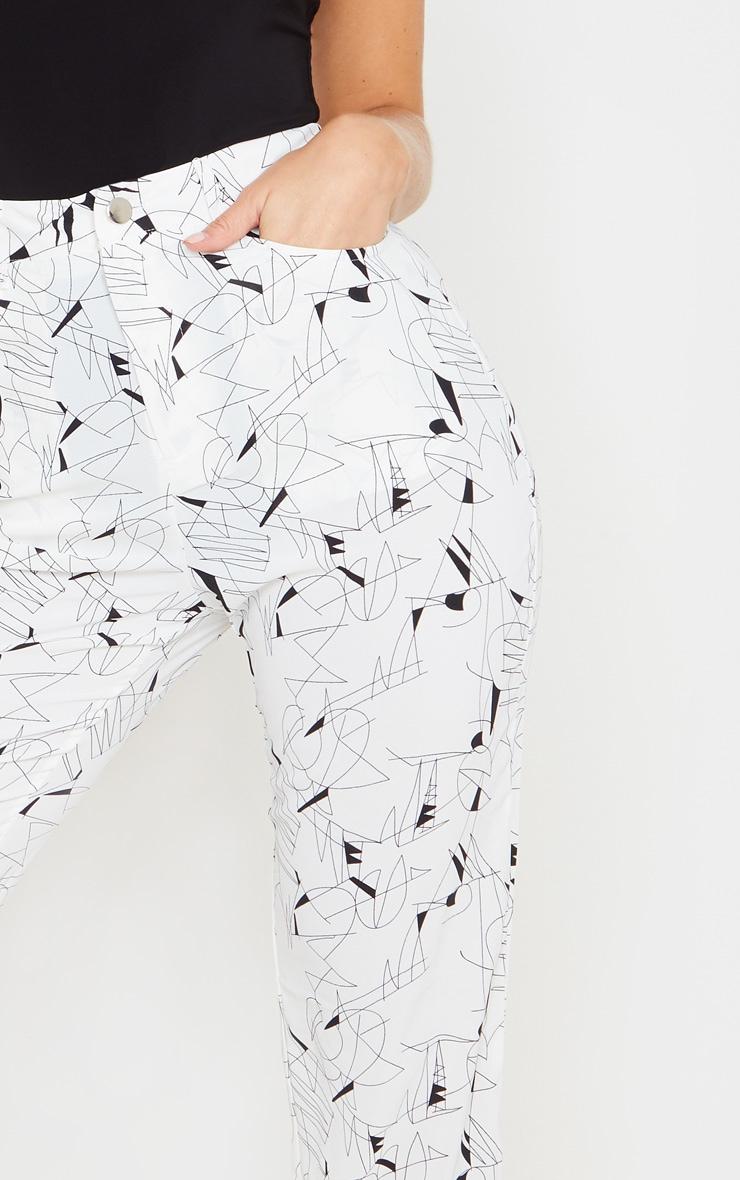 White Printed Straight Leg Trouser 5