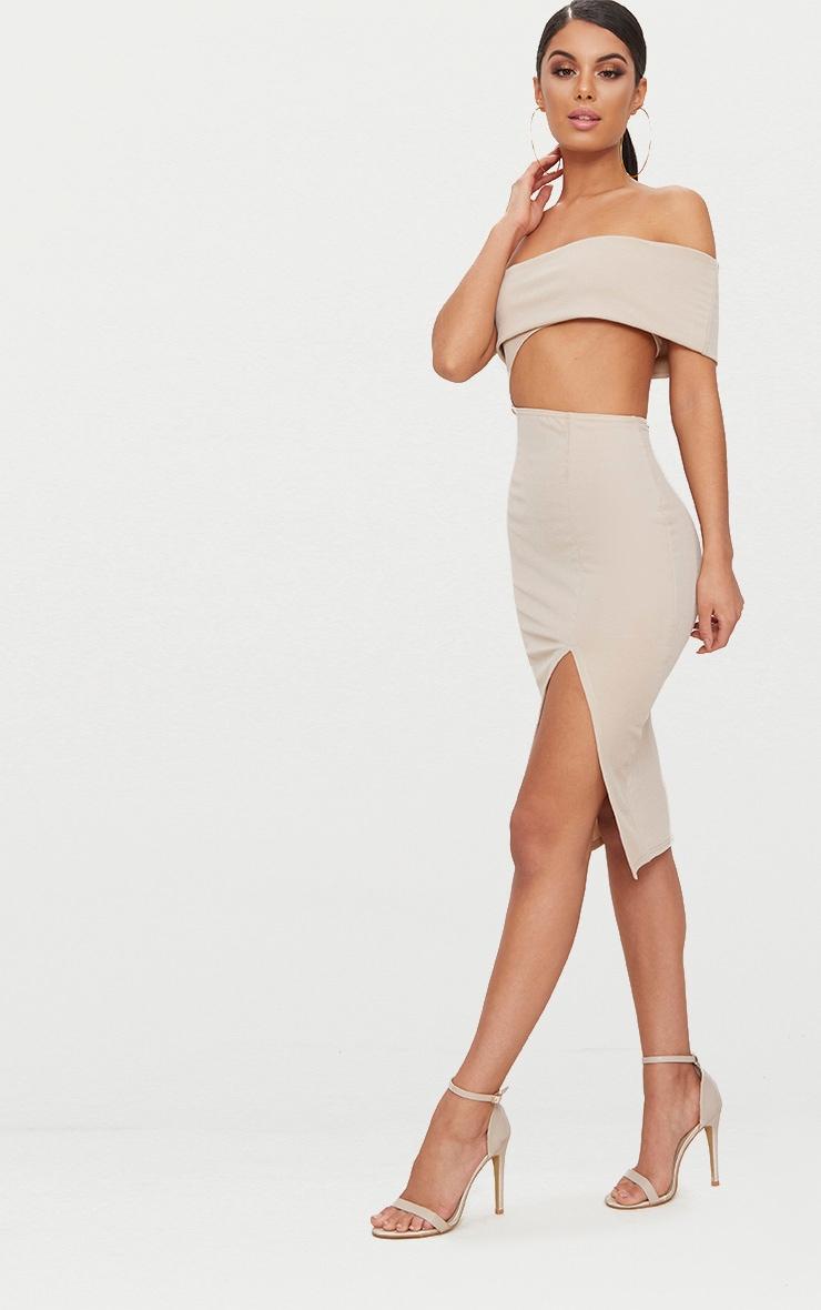 Stone One Shoulder Asymmetric Cut Out Midi Dress 4