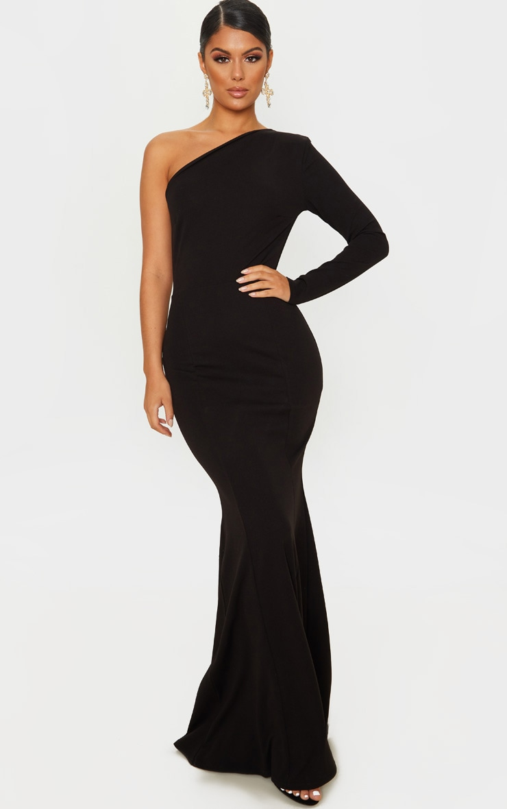 Black One Shoulder Long Sleeve Maxi Dress 1