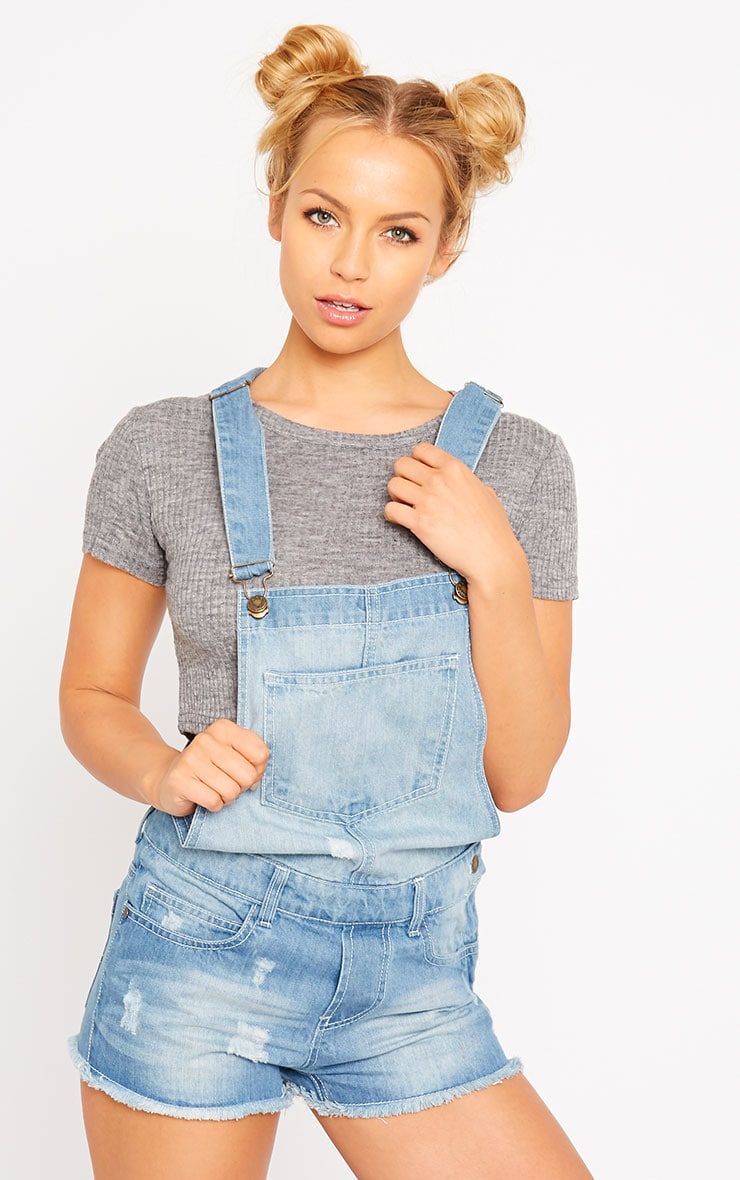 Junya Light Wash Denim Short Dungarees 1