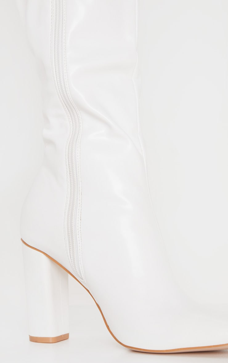 White Round Block Heel Knee High Boots 4