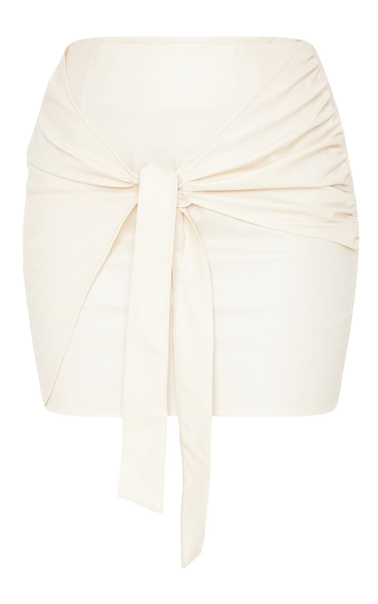 Cream Faux Leather Tie Front Mini Skirt  3