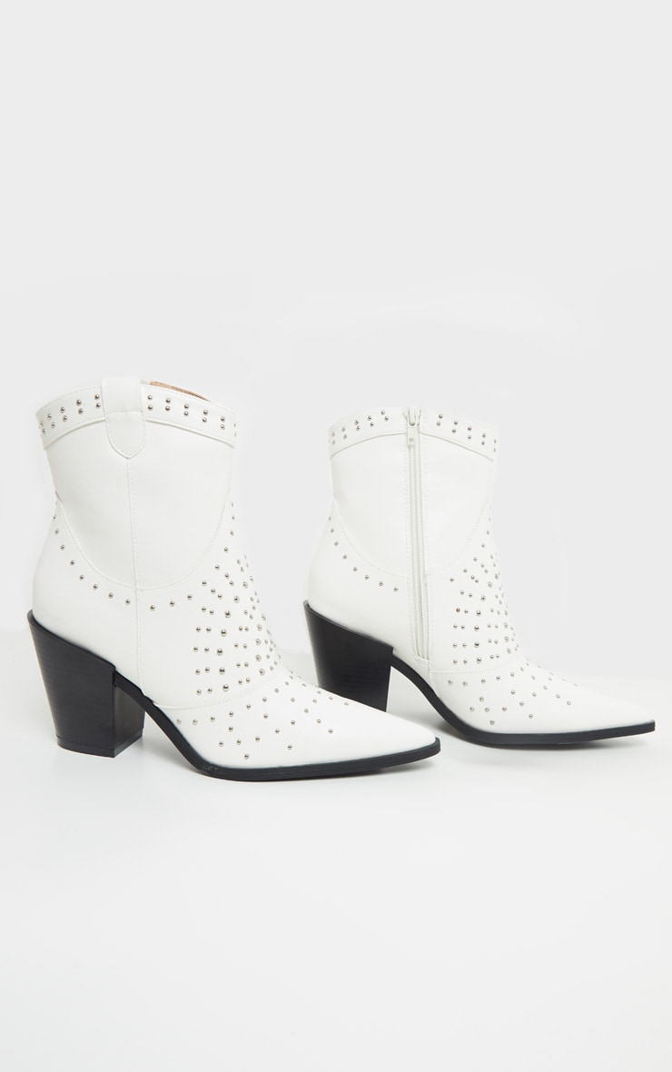 White Point Toe Stud Detail Western Heel Ankle Boot 3