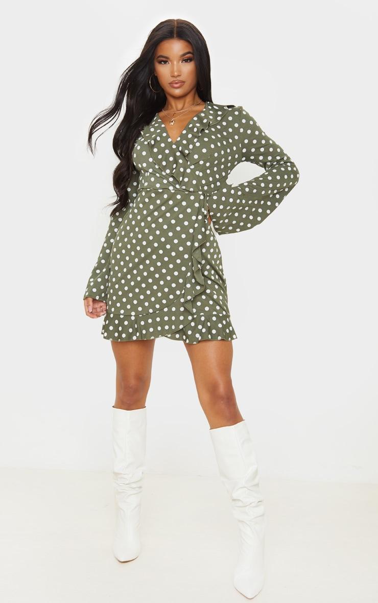Green Polka Dot Long Sleeve Wrap Tea Dress 4