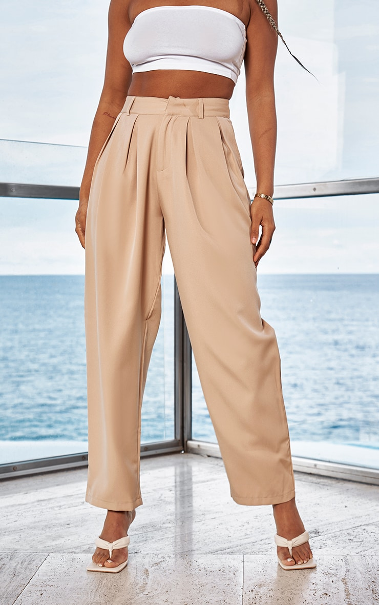 Camel Woven High Waisted Cigarette Trousers 2