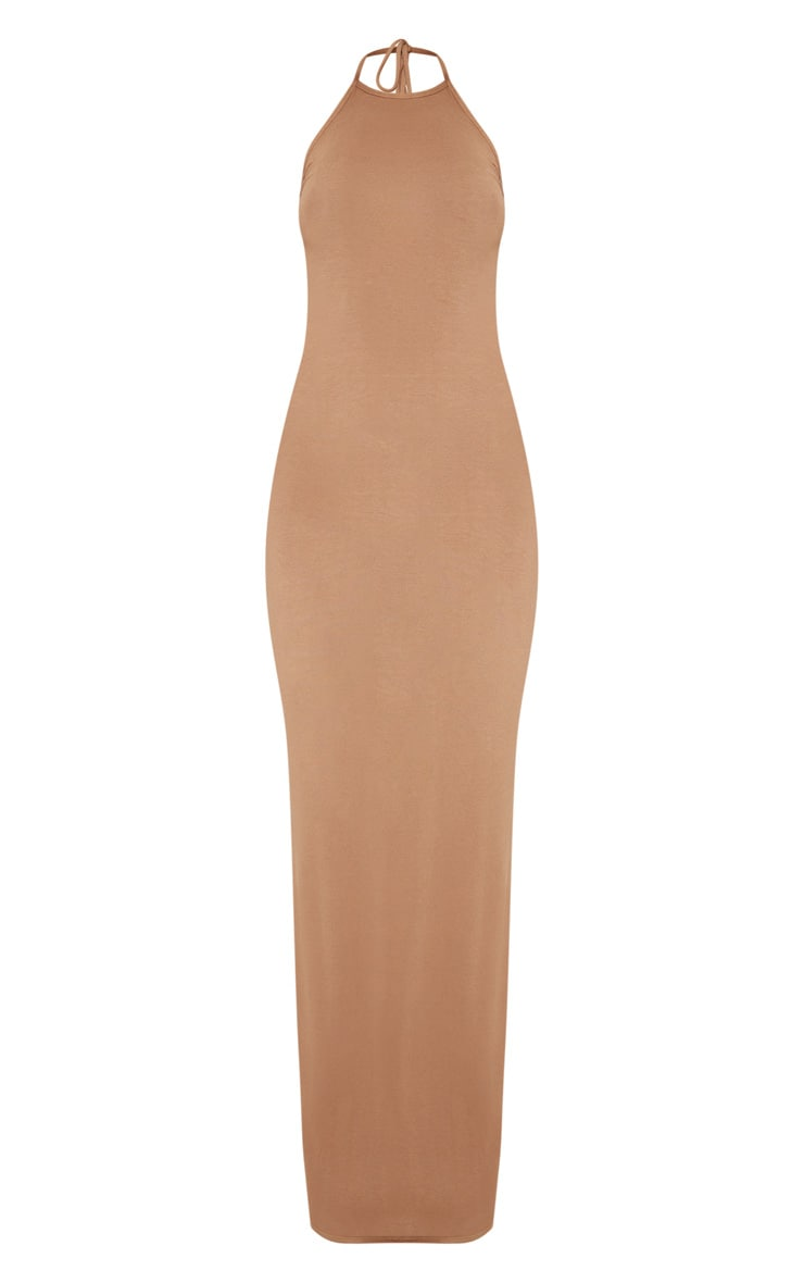 Camel Basic Halterneck Maxi Dress 3