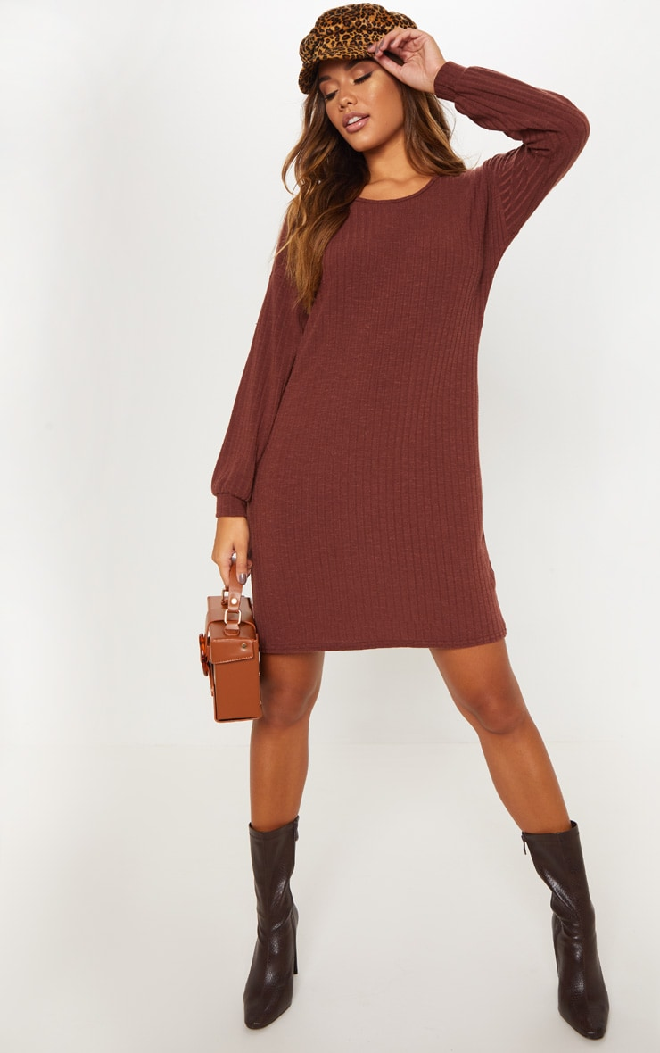 Chocolate Wide Ribbed Oversized Jumper Dress 4