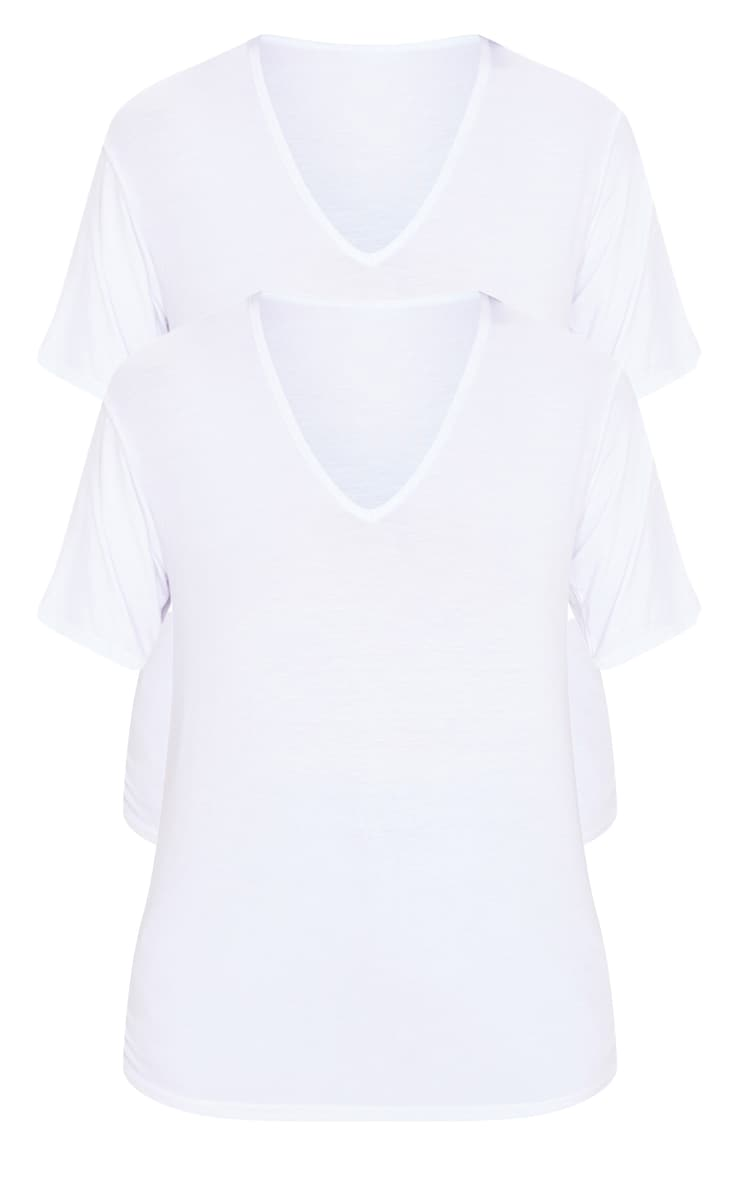 White Basic V Neck T Shirt 2 Pack 3